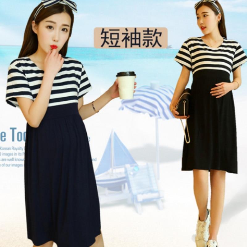 2018 new Maternity dress pregnant clothing cotton clothes for pregnant women plus size stripe dresses pregnancy dress M384