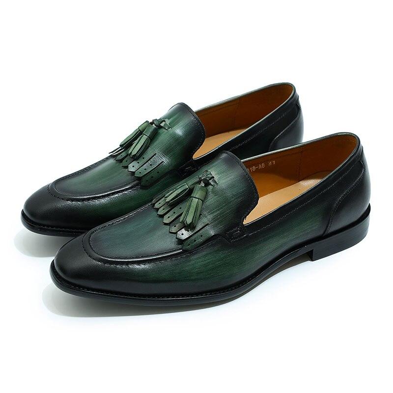 72b64dfea796 Dropwow Fashion design mens tassel loafers black brown greeen ...