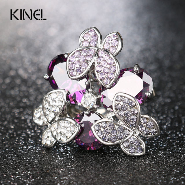 Luxury Butterfly Ring Sterling Silver Jewelry High Quality Purple Zircon Color Crystal Christmas Gift Rings For Women