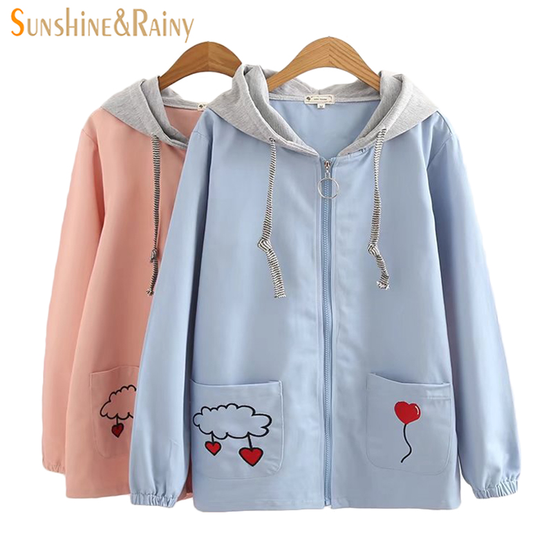 Womens Sweet Jacket Spring New Pocket Embroidered Clouds Thin Long Sleeved Hooded Stitching Female Jacket Coat Student Coat