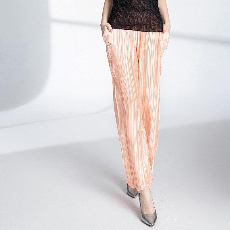 Casual Cintura Más Pantalones Tamaño Womens Alta Orange 2018 Las Moda Mujeres Para Plisados Elástica Flojos Otoño Mujer Miyake HSHCwpq