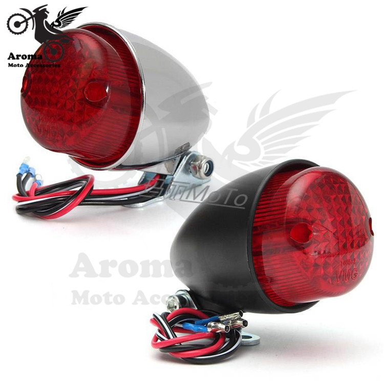 retro chrome silver black scooter indicator motorcycle tail light for harley GN CG LED motorbike brake light moto accessories