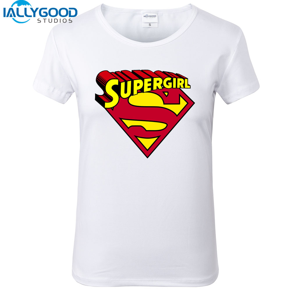 e8e5ea1c4 New Summer Women's Fashion Supergirl T shirts Woman Cool Printed Soft  Cotton Short Sleeve White Tops