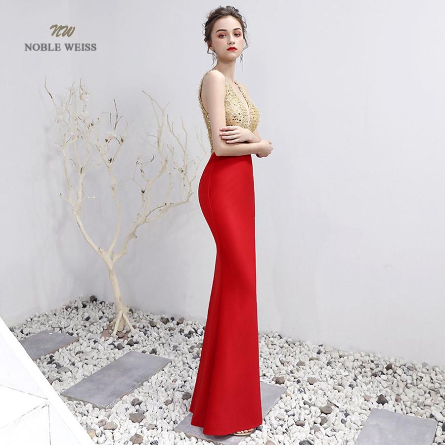 V-Neck Beading Floor-Length Mermaid Prom Dress 2