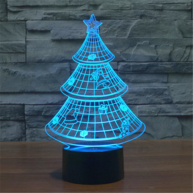 Creative 7 Colors 3D Christmas Tree Acrylic Visual Light LED Lamp Bedroom Table Decoration Lamps Night Light Gifts 3D-TD130