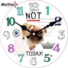 MEISTAR Fashion Round Cute Dog Wall Clocks For Children Living Study Room Durable Decorative Animals Watches Art Clock