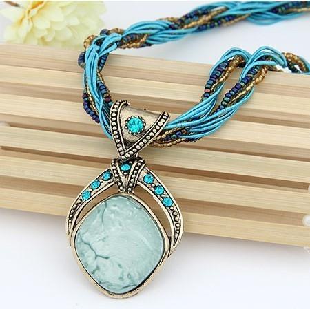 Pendentif Collier Vintage Bohème  Losange Cristal