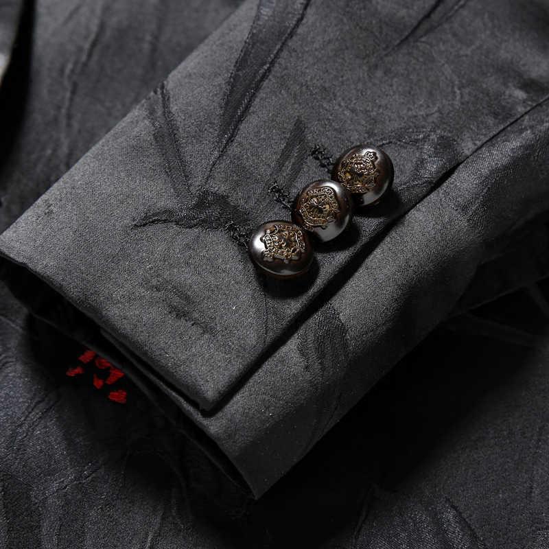 TIAN QIONG noir Floral costumes hommes 2018 Slim Fit marié costume de mariage col châle veste de smoking pantalon de luxe bal fête scène costume