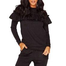 Autumn 2016 Women Ruffles Hoodies Sweatshirt Long Sleeve Women Tops + Pants 2pcs Women Suit Set LJ5403T