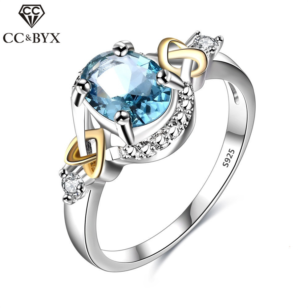 Galleria fotografica CC Jewelry 925 Sterling Silver Jewelry Fashion Oval Sky Blue CZ Ring For Women Chic Accessories Engagement Gift Rings CC542