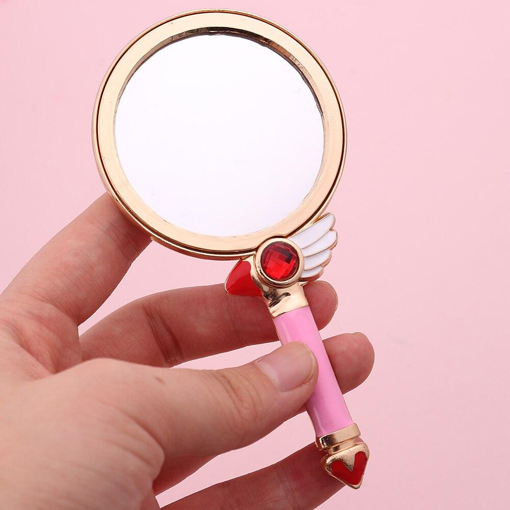Nette Rosa Weiß Kunststoff Vintage Hand Spiegel Make-up Eitelkeit Spiegel Rechteck Hand Halten Kosmetik Spiegel Mit Griff Für Geschenke Seien Sie Im Design Neu Schönheit & Gesundheit