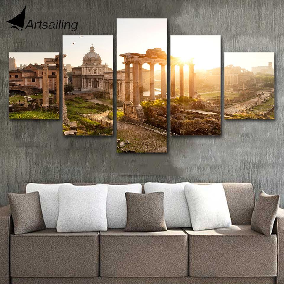 Home Decoration Forum: ArtSailing 5 Piece Canvas Painting The Roman Forum At