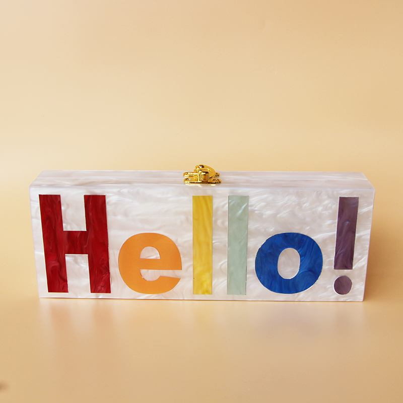2017 Personality Pink Pearl Acrylic Name Bag evening clutch bag Custom Letter acrylic hard box clutch handbag small party purs - 6