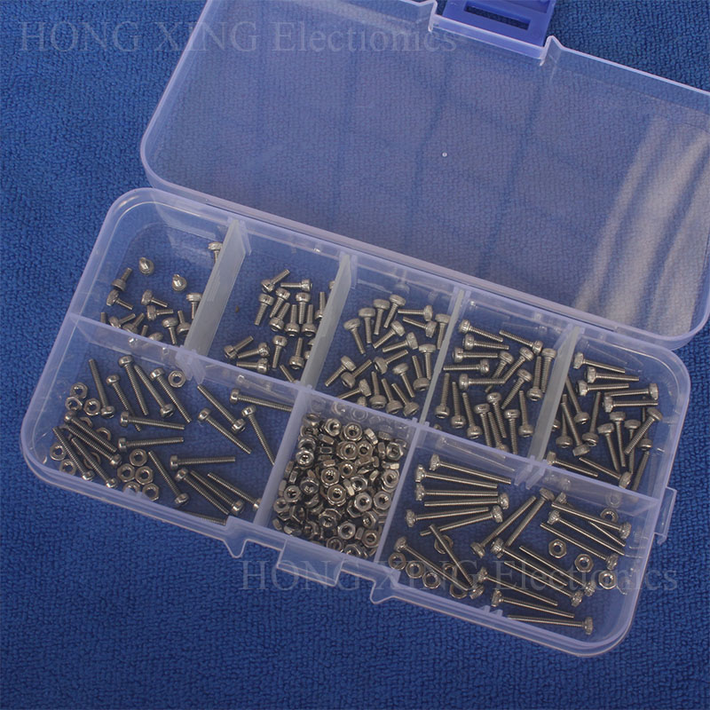 цена на 280pcs/set 304Stainless Steel Screw Cap Head Screw Bolt Nut M2*4/5/6/8/10/12/16 Allen Hexagon Socket Screws Furniture Fastener