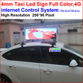 led full color taxi signs,102.4cm*38.4cm display area,256 * 96 pixel,,SMD utral clear,support 4g network, adroid app supply