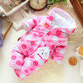 Fleece romper do bebê recém-nascido da menina para o inverno, das crianças do sexo feminino de manga longa de algodão-acolchoado jumpsuits de uma peça de roupa do bebê