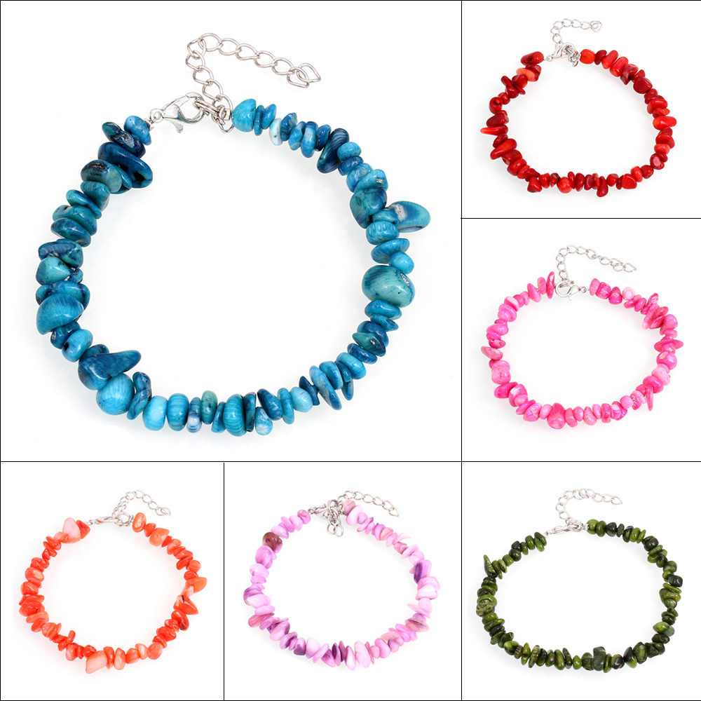 YYW Natural Real Coral Stone Bracelet Bangles Women Factory Wholesale Jewelry Nuggets Chips Dyed Colored White Coral Bracelets