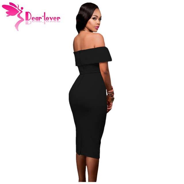 placeholder Dear Lover midi party dresses bodycon slash neck vestido de  festa Hot-selling Black Off a49800c9bff1