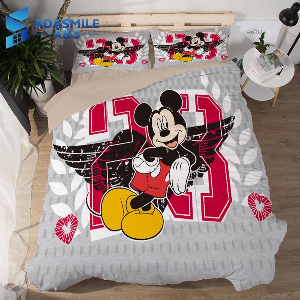 Disney Mickey Mouse Kids Bedding Sets Single Double Cartoon Duvet Cover Quilt Cover Pillowcase 3PCS Comfortable