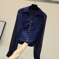 Loose V collar Chiffon Shirt Female 2019 Spring New Bubble Sleeves Pure Color Shirt Students White / Dark Blue Shirts Blusas