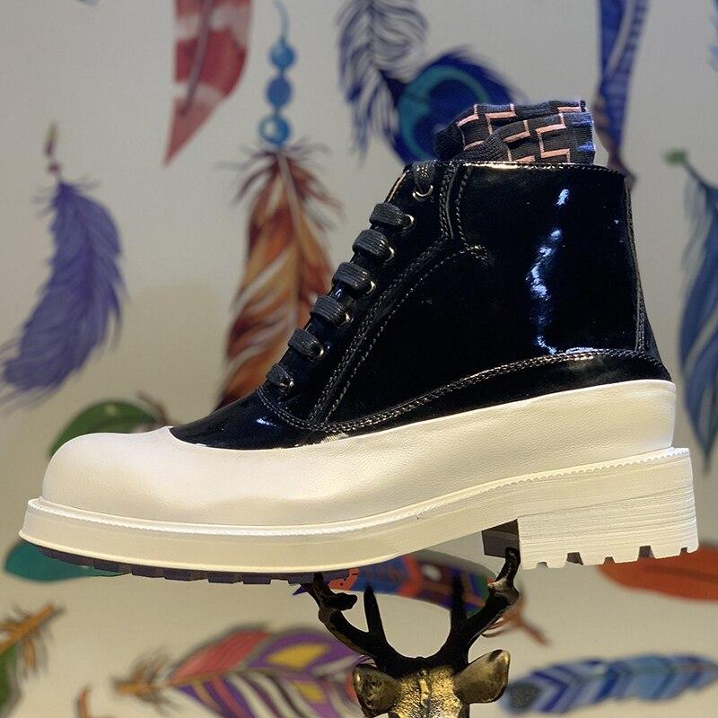 Encaje Moda Botas Negro Hombres De Nuevo Cuero Zapatos Tobillo Para Martin Charol Alta Blanco nRxqzwT84a