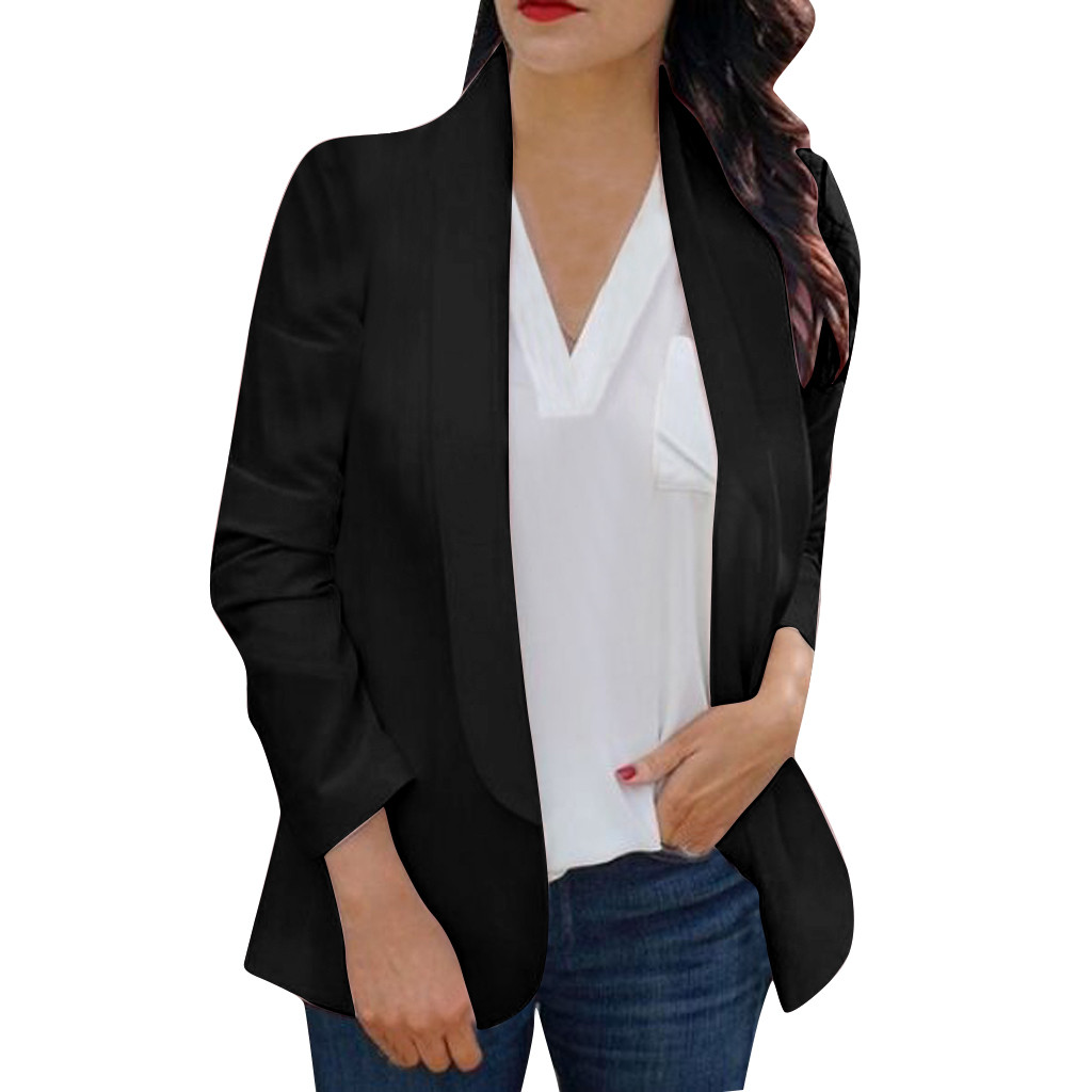 30#Feminino Women White Long Sleeve Open Front Cardigan Suit Jacket Work Office Knit