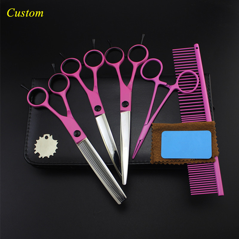 Custom 5 kit professional japan 7 inch pink Pet dog grooming hair scissors cutting shears thinning barber hairdressing scissors purple dragon 7 inch pink black thinning pet shears dog hair scissors clipper for dogs professional grooming tool for dog cat