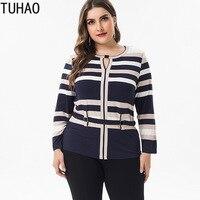 TUHAO High Quality office lady plus size 6XL 5XL 4XL BLOUSE shirt 2019 spring long sleeve striped Shirt blouses womens top ZPZ