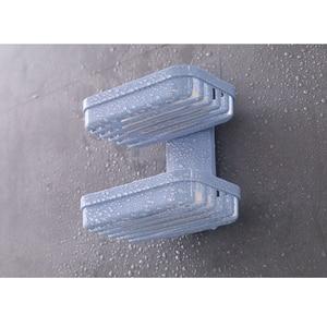 Image 3 - 1pcs צלחת סבון מגש שכבה כפולה בעל סבון ניקוז יניקה גביע סבון תיבת בית סבון כלים דרגש מים אמבטיה סלי