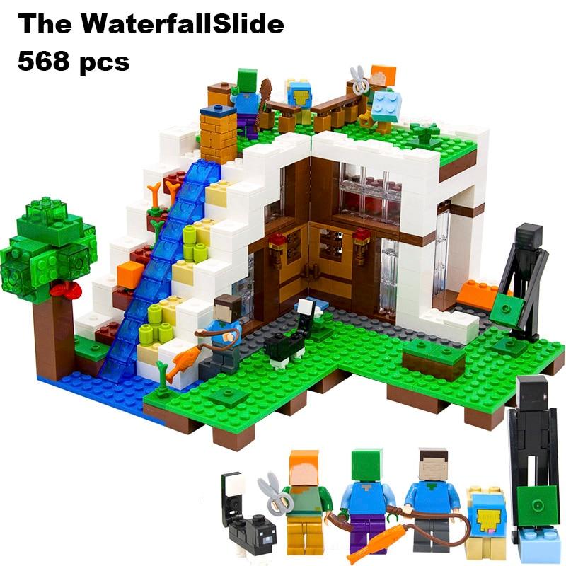 Модель здания игрушка совместима с lego Minecraft 21134 568 шт. таинственный водопад хижина дом мой мир кирпичи игрушечные лошадки