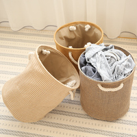 Clothing Organizer Fordable Laundry Basket Storage Hamper Dirty Clothes Bucket Collapsible Laundry Bag Bin With Cotton Handle