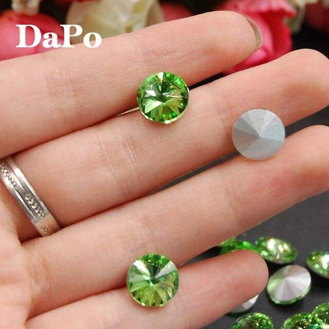 Light Green Color Rivoli Rhinestones Fancy Stone Point Back Glass Crystal  Stone For Jewelry Making 8mm 4dd8d8d0fbb0
