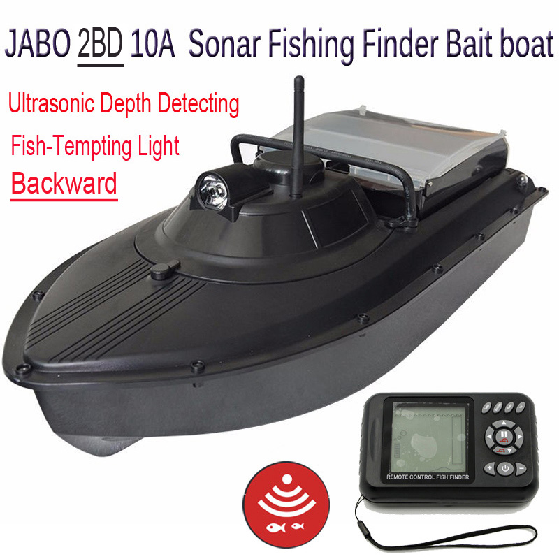 Sonar Lure fish finder bait boat JABO 2BD 10A 2.4G RC Fishing Finder with Backward&Fish Tempting lights free shipping jabo 2bl 20ah 2 4ghz sonar fish finder bait boat for fishing tools with sonar fish finder