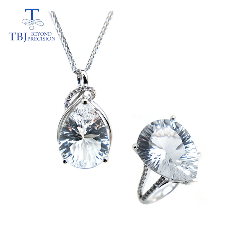 TBJ Big pear shape natural 17ct white topaz pe12*16 gemstone rings and necklace in 925 sterling silver jewelry,for lady as giftTBJ Big pear shape natural 17ct white topaz pe12*16 gemstone rings and necklace in 925 sterling silver jewelry,for lady as gift