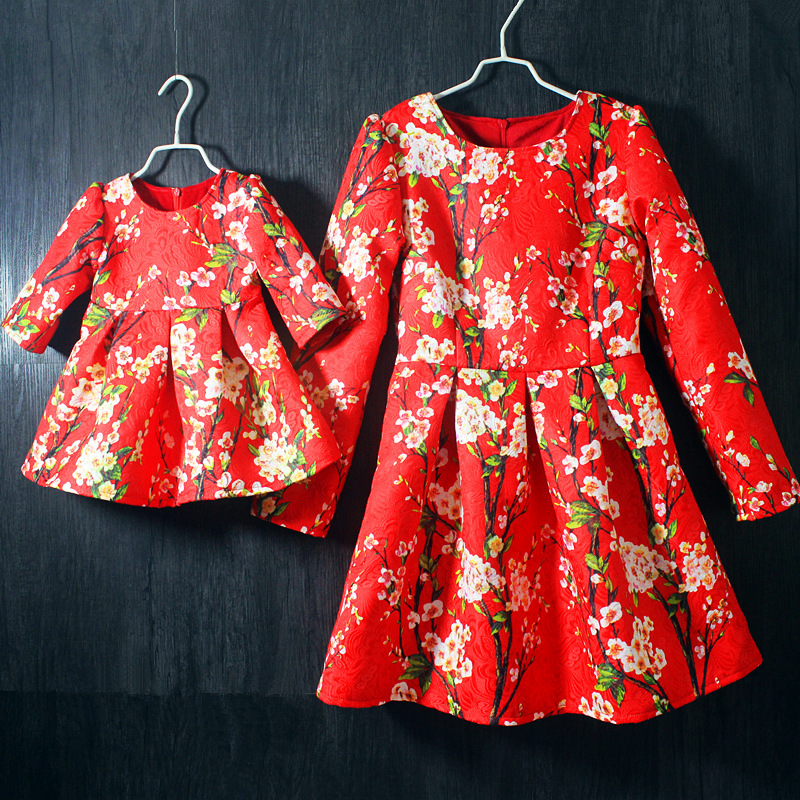 Mother daughter dress large plus size red floral prints one-piece set kids girls women midi dresses family look matching clothes