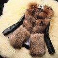 Женщины Короткая искусственного меха кожа PU пальто пончо fourrure Плюс Размер 2XL 3XL меховым воротником черный Готический основные пальто элегантный Норки лисицы femme