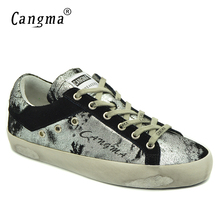 CANGMA Latest Footwear High Quality Brand Sneakers Ladies Bass Shoes Silver Black Lace-up Women Distressed Leather Classic Flats