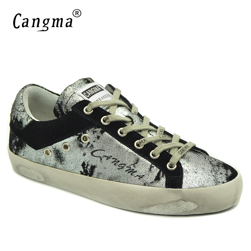 CANGMA Latest Footwear High Quality Brand Sneakers Ladies Bass Shoes Silver Black Lace-up Women Distressed Leather Classic Flats glowing sneakers usb charging shoes lights up colorful led kids luminous sneakers glowing sneakers black led shoes for boys