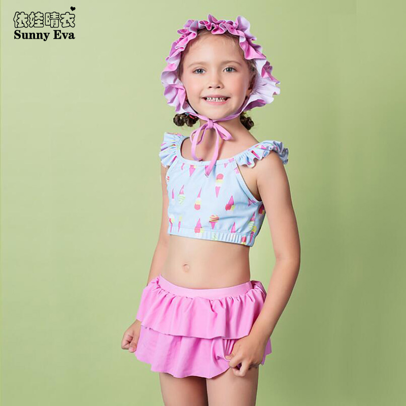 sunny eva print bathing clothes girl ruffle swimming suits for children sports swimwear high waist bikini Brazilian bikini