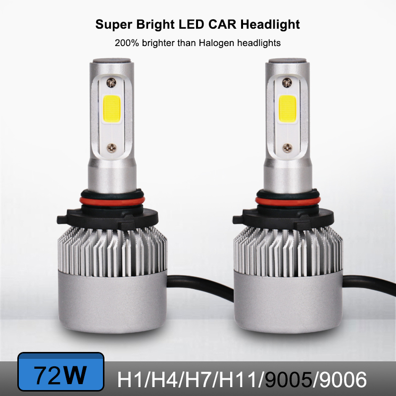 2pcs 6500k COB Chips H4 Led 9005 H7 light Auto Headlight 8000LM 72W Turbo Led Car Head Bulbs SUV H11 Fog Lamp S2 Series 12V 24V