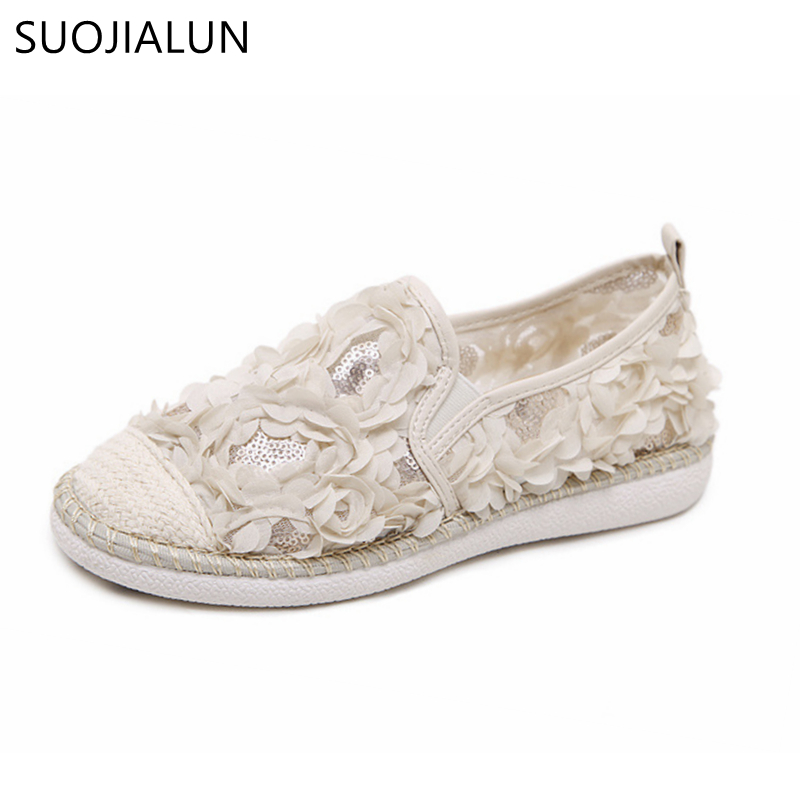 SUOJIALUN Spring Women Loafers Cane Hemp Straw Fisherman Flat Heel Shoes Woman Slip On Casual Fashion Flower Shoes 2017 new fashion designer casual espadrilles flat women spring printed white flower embroider slip on fishermen hemp rope shoe