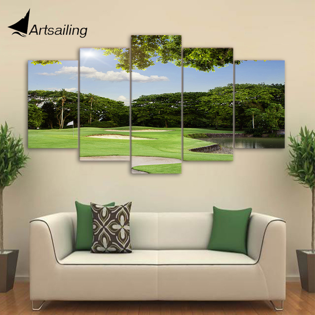 HD Printed 5 Piece Canvas Art Green Golf Course Painting Framed ...