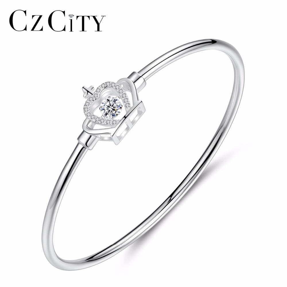 CZCITY Marque Charm Femmes Romantique Couronne 925 Sterling Argent AAA CZ Bracelets & Bangles Pour Femme Beaux Bijoux En Argent Bracelet