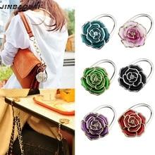 Best Gift Portable Folding Handbag Rose Hook Hanger Holder Bag Locking Device drop ship bea61012