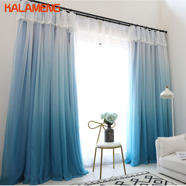 blue modern living room how to decorate 2 layers solid curtains for bedroom blackout whitetulle drapes window treatment wb0361