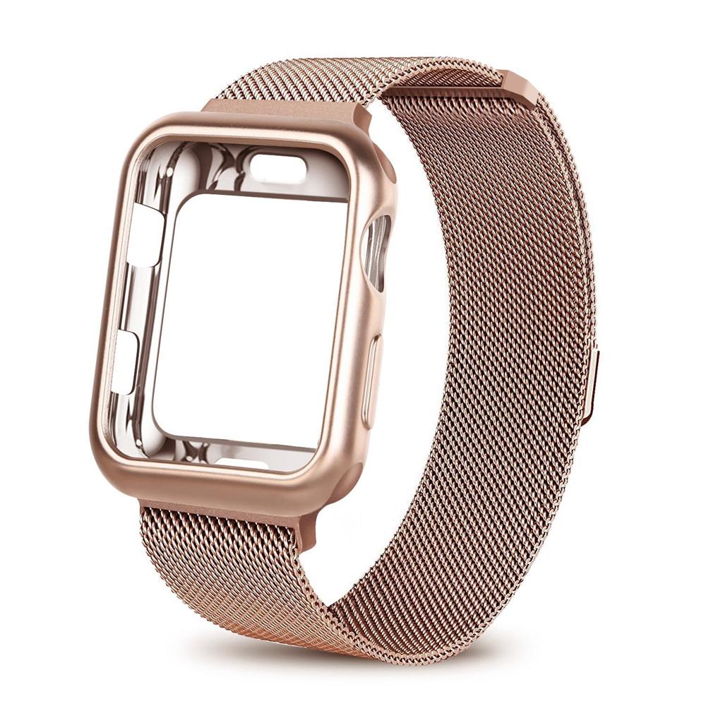 Milanese Loop strap for Apple Watch Band 44mm 40mm iwatch series 4 bracelet wrist Stainless Steel Mesh metal watchband+case все цены