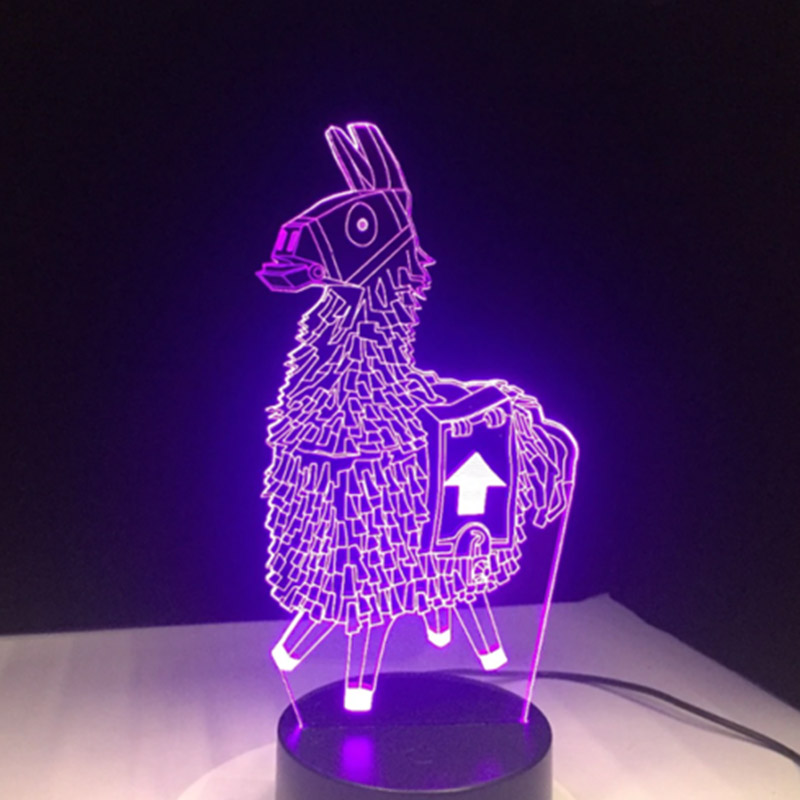 3D Cartoon Animal Llama Night Light 7 Colors LED Desk Lamp Home Room Decor Gift LB88