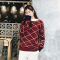 2017  new arrival small vintage block color block decoration thick sweater