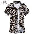 MOGU Botón Abajo Camisas de Moda Camisa Casual 2017 de Los Hombres de Verano Estampado de Flores de Manga corta Camisa de Los Hombres de Gran Tamaño de Los Hombres 7XL Camisas