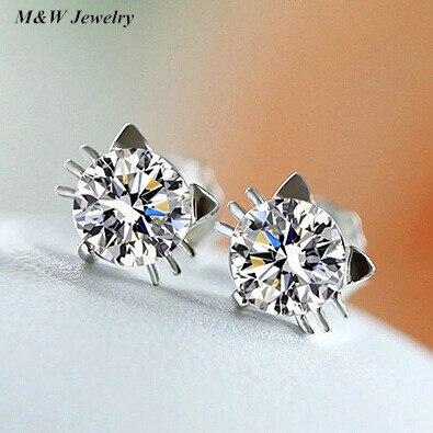 2017 new hot accessories new 925 sterling silver sweet for women cute cat wizard earrings jewelry M&WS1695